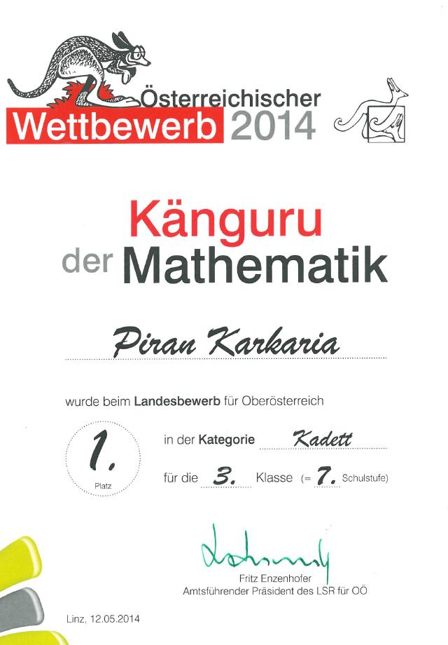 1. Platz K�nguru der Mathematik | Europagymnasium Auhof